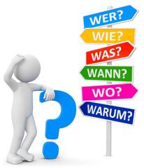 3d Männchen mit Wegweiser und W-Fragen..Männchen mit Fragezeichen auf der Suche nach Antworten und Lösungen. .Der richtige Weg muss erst noch auf dem Wegweiser angezeigt werden.
