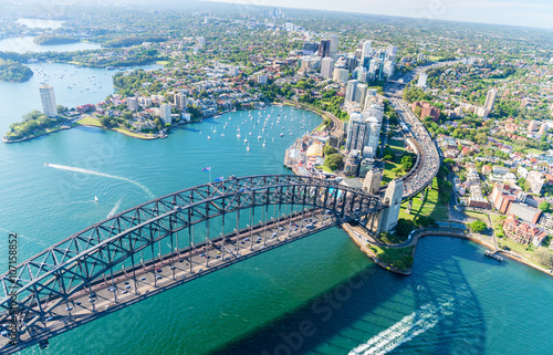 Sunset over Sydney Harbour, helicopter view Poster