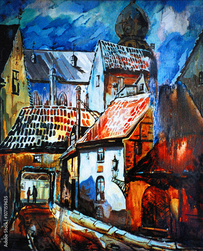 Obraz w ramie landscape with rain in city riga latvia, oil on canvas, illustra