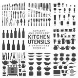 kitchen utensils silhouettes bundle.