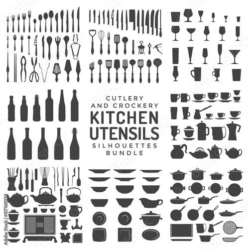 zestaw sylwetki naczynia kuchenne.
