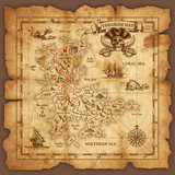 Fototapety Vector Pirate Treasure Map