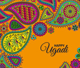 Invitation card. Floral paisley background with indian ormament and text Happy Ugadi . Vector illustration.