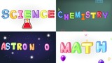 Four screen animation of science, math, chemistry, and astronomy handwriting doodle with sign and symbol icon object tool moving used for children education or academic presentation in 4k ultra HD