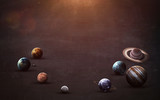 Fototapety High resolution images presents planets of the solar system on chalkboard. This image elements furnished by NASA