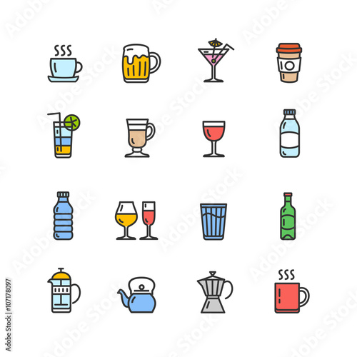 Drink Alcohol Beverage and Coffee Tea Icons. Vector