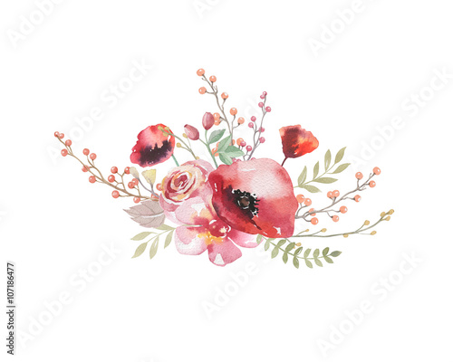 Watercolor vintage floral bouquet. Boho spring flowers and leaf - 107186477