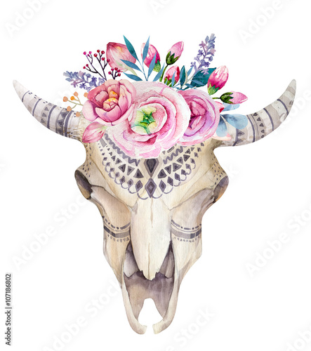 Watercolor cow skull with flowers and feathers decoration. Boho - 107186802