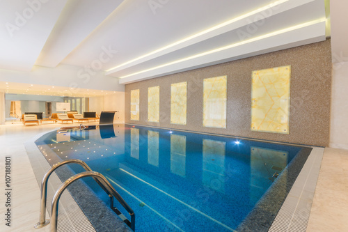 Modern indoor pool in SPA at hotel