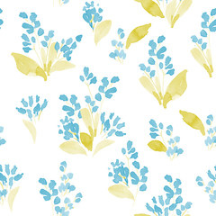 Watercolor flowers colorful seamless pattern. Vector illustration