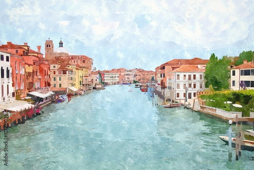 Obraz na Szkle Abstract watercolor digital generated painting of the main water canal in Venice.