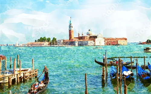 Obraz na Szkle Abstract watercolor digital generated painting of the Church of San Giorgio Maggiore with gondolas in Venice, Italy.