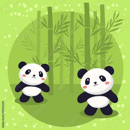 Obraz Two cute little panda bears cartoon standing in green bamboo background.