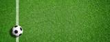 Fußball auf grünem Rasen mit Makierung - 107239289