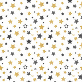 Fototapety Seamless pattern with hand drawn stars. Stylish background