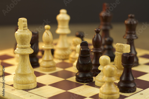 Poster, Tablou Chess board with game in play