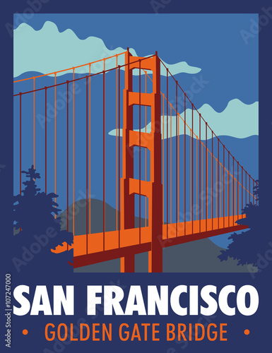 Poster, Tablou puente golden gate de san francisco