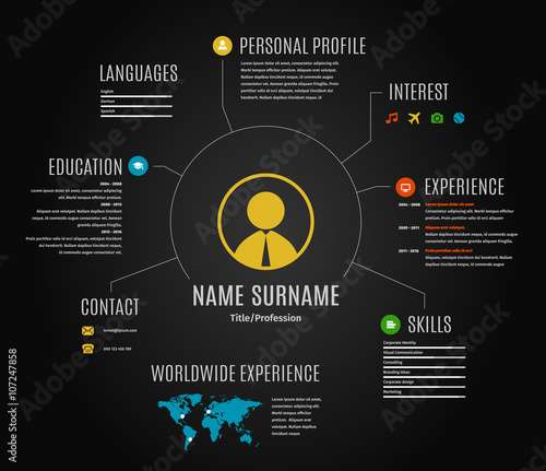 Vector dark resume web infographic template.
