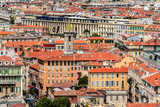 Panoramic view of Nice with colorful houses, Cote d'Azur, France