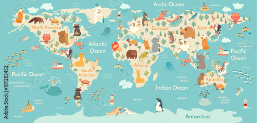 Animals world map. Vector illustration, preschool,  baby,continents, oceans, drawn, Earth.