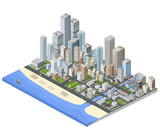 Isometric city. Skyscrapers, houses and streets in the metropolis isometric view. - 107285057