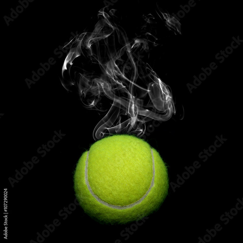 Tennis with smoke on black background Poster