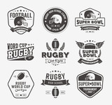 Rugby logo vector set, Football badge logo template - 107302073