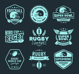 Rugby logo vector set, Football badge logo template - 107302297
