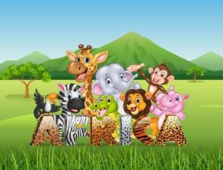 Word Africa with cartoon wild animal