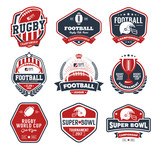 Rugby logo vector colorful set, Football badge logo template - 107309844