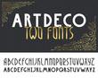 Two deco vintage poster typefaces, fonts.