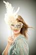 Obrazy na płótnie, fototapety, zdjęcia, fotoobrazy drukowane : beautiful blonde girl with old carnival mask isolated on grey