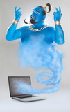 genie of the lamp with smoke from laptop isolated on grey - 107319273