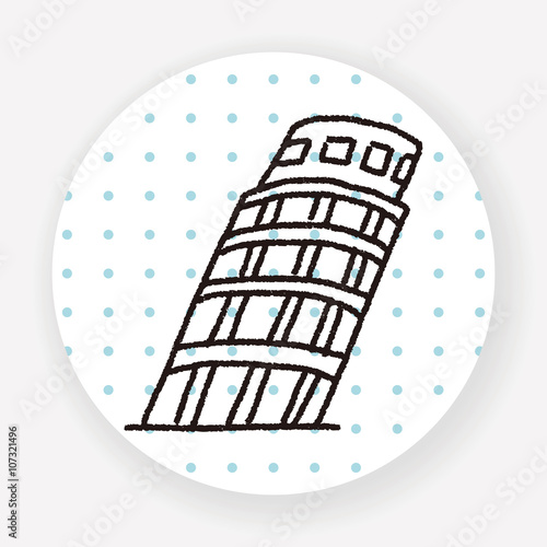 doodle Leaning Tower of Pisa © hchjjl