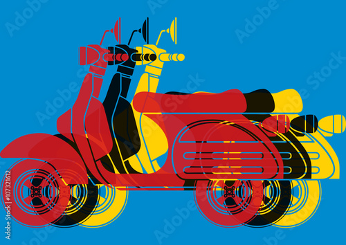 Naklejka Scooter pop art