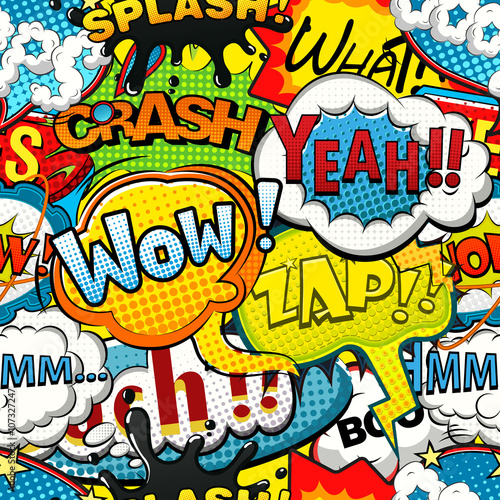 obraz PCV Multicolored comics speech bubbles seamless pattern