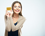 Happy woman hold credit card.