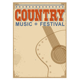 Country music festival background with text.Vector old poster w