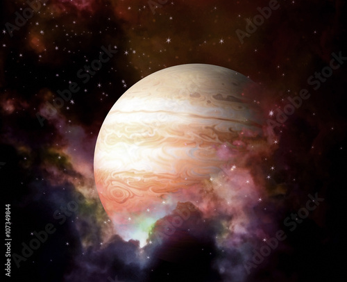 Fotobehang Nasa Planet and Nebula - Elements of this image furnished by NASA