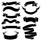 Vector Set of Black Ribbons for Your Text