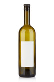 Empty wine bottle with cap and blank label on white, clipping path