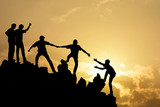 Group of people on peak mountain  climbing helping team work , s - Fine Art prints
