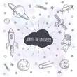 Постер, плакат: Hand drawn set of astronomy doodles