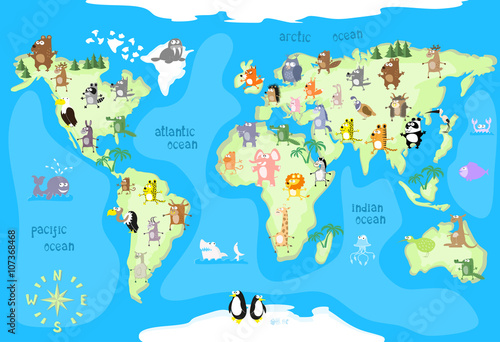 Concept design world map with animals of all the continents and oceans drawing in funny cartoon style for kids and preschool children. Vector illustration