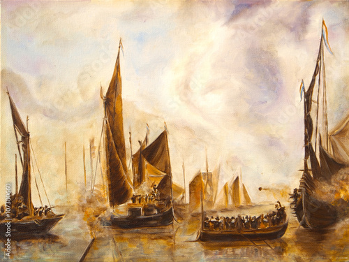 Art Oil Painting Picture Sea Battle © shvets_tetiana