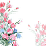 Fototapety Greeting card with a watercolor wild flowers with place for your text. (Use for Boarding Pass, invitations, thank you card.) Vector illustration.