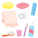 Bathroom stuffs product home decoration household object Cartoon Vector
