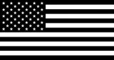 Black and white flag of United States of America