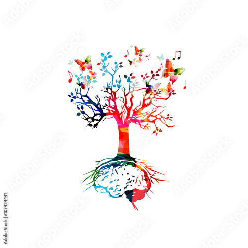 Tree with brain root, brainstorming concept © abstract