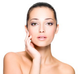 Beautiful woman with fresh skin of face